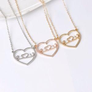 Hollow Heartbeat Love Silver Pendant Necklace